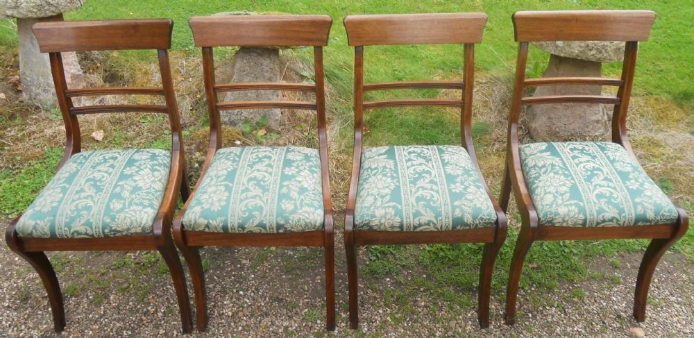 Set of Four Mahogany Sabre Leg Dining Chairs